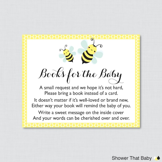 bumble bee baby shower printable bring a book instead of a card