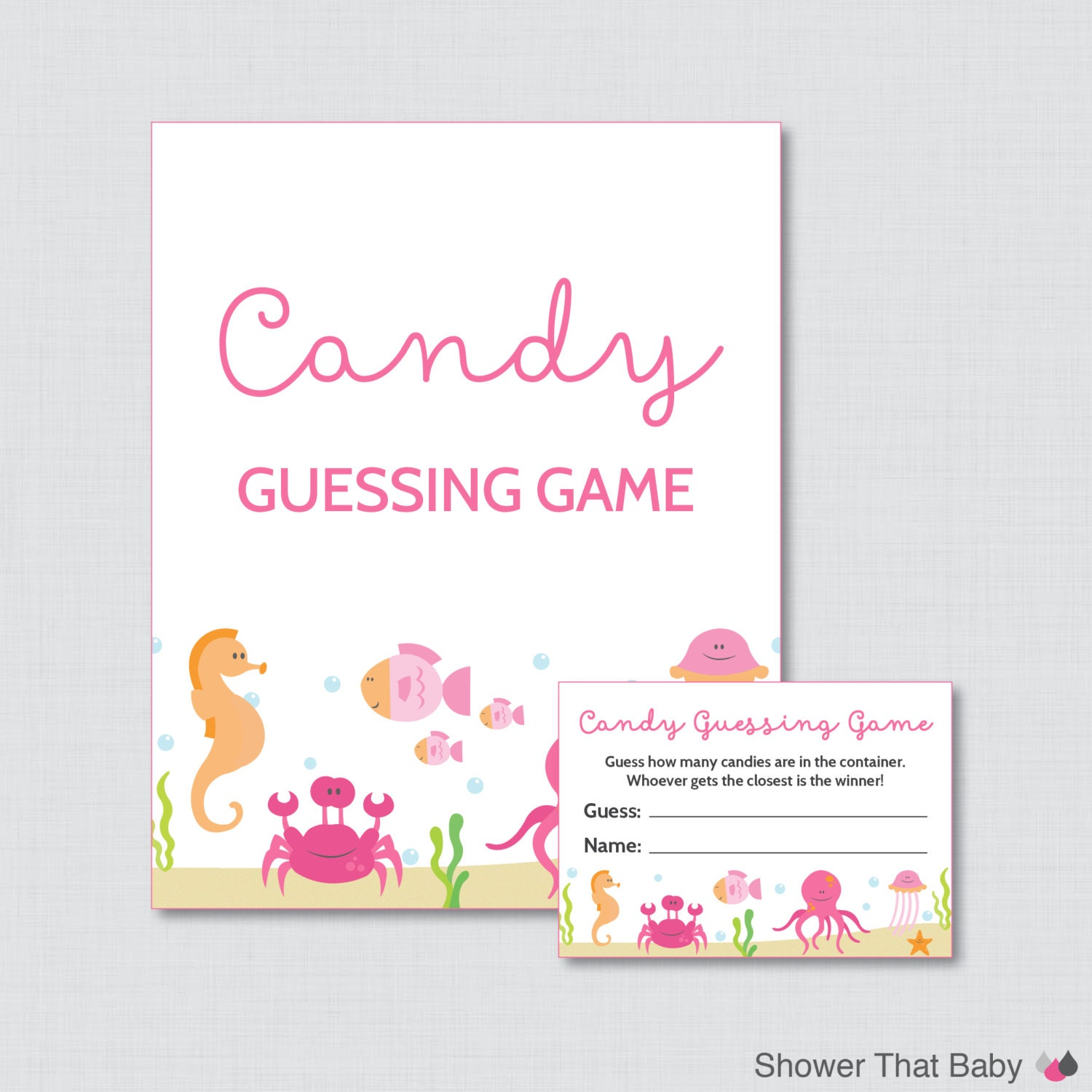 Candy Baby Shower Game: Under The Sea Baby Shower Candy Guessing Game Printable Pink