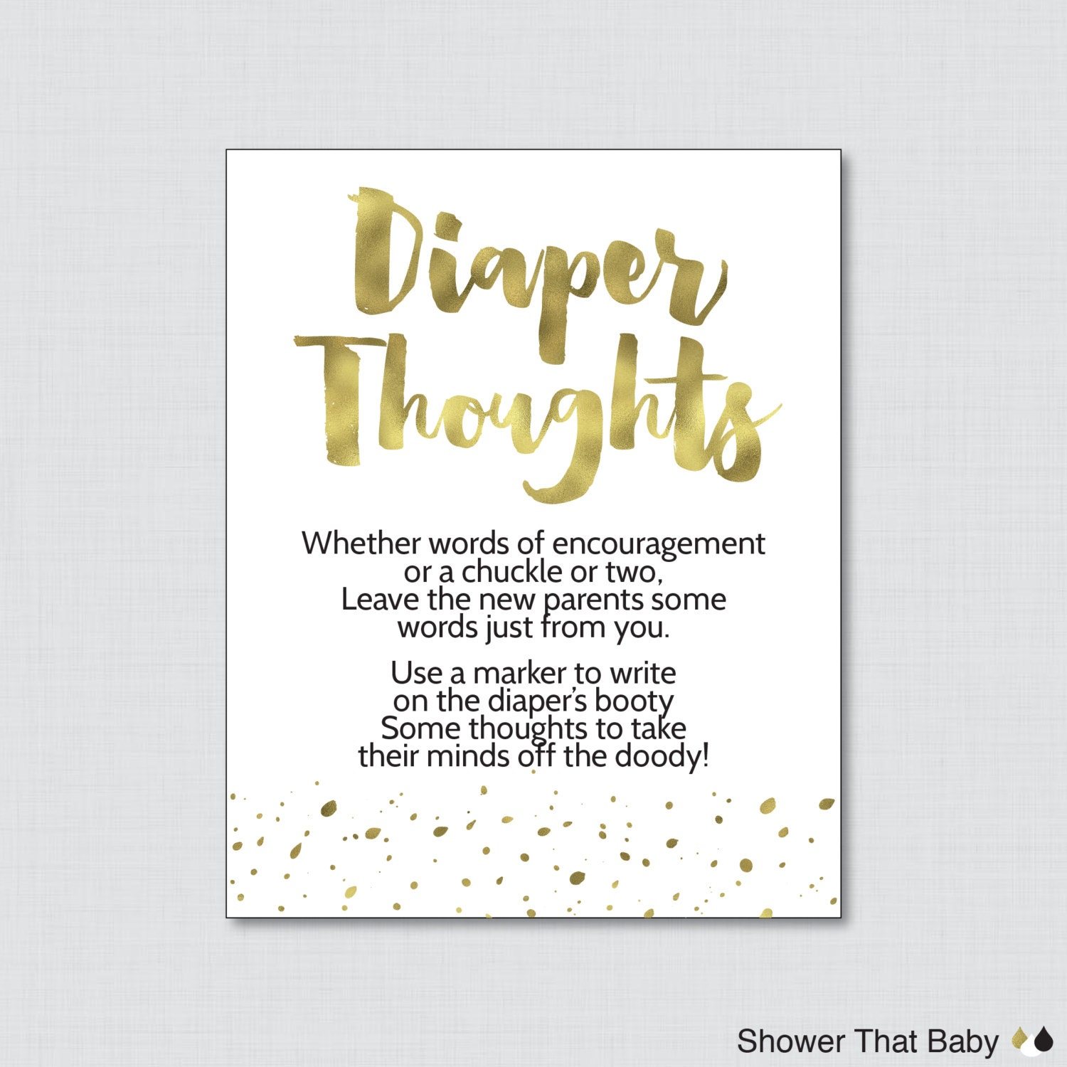 White And Gold Baby Shower Diaper Thoughts Game Printable