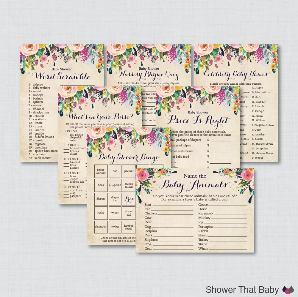 Baby Shower Games: Floral Baby Shower Games Package Seven Printable Games: