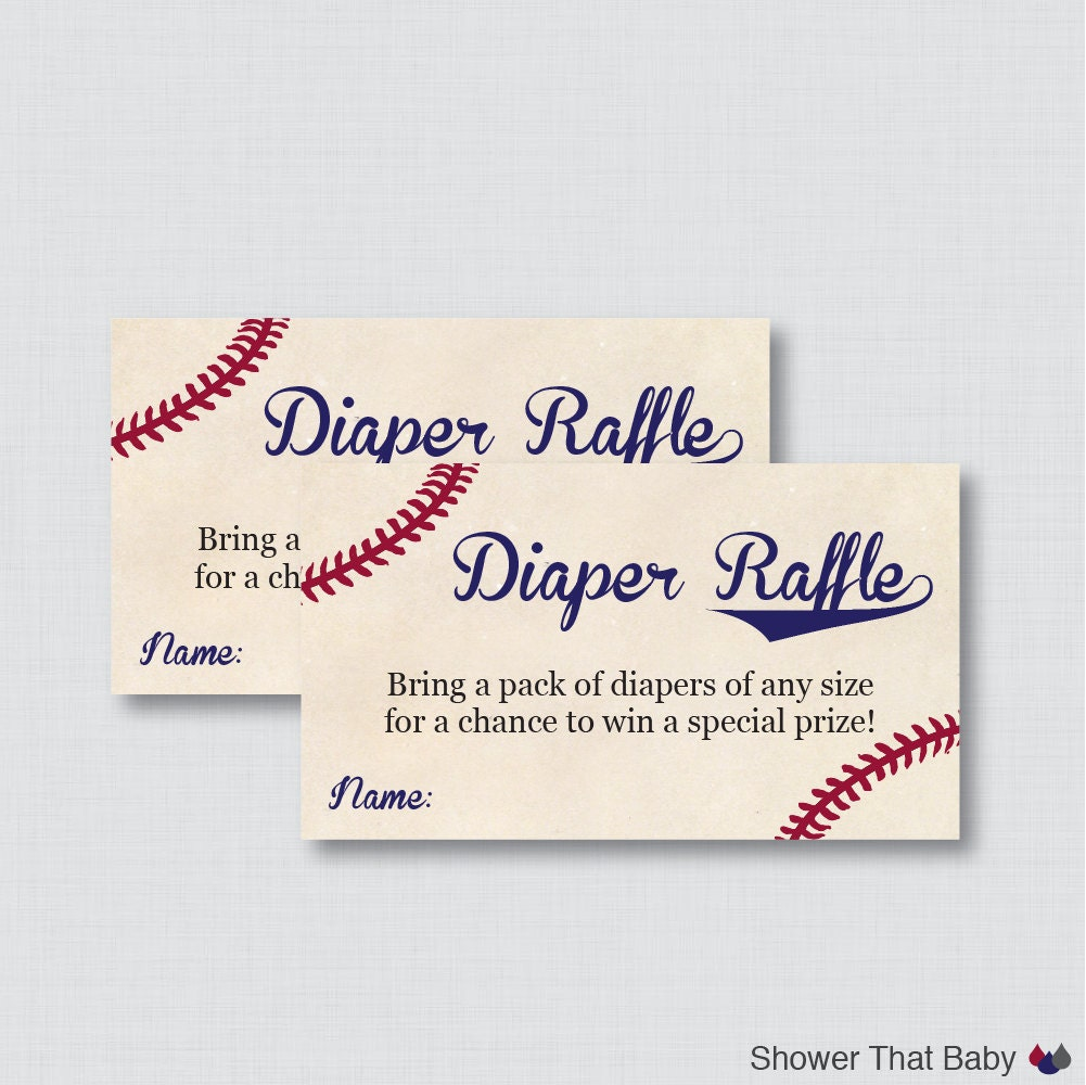 Baby Shower Diaper Raffle: Baseball Baby Shower Diaper Raffle Tickets And Diaper Raffle