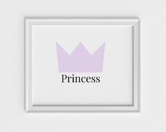 Princess Crown art print, nursery wall art, art prints for kids, wall decor art print, nursery art print, kid wall art, kids art print, pink