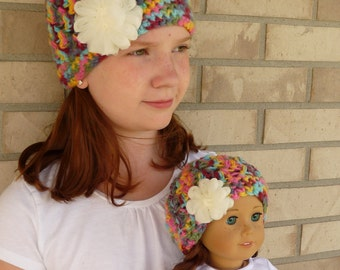 Matching Girl & Doll Hat Set--Multi-colored with Ivory Flower