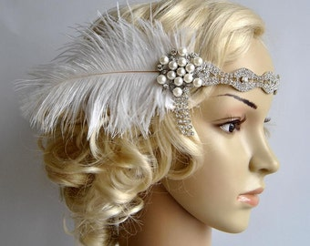 Rhinestone Headband headpiece with feathers, Great Gatsby Headband, Wedding flapper headband,1920s Bridal rhinestone hair piece, prom