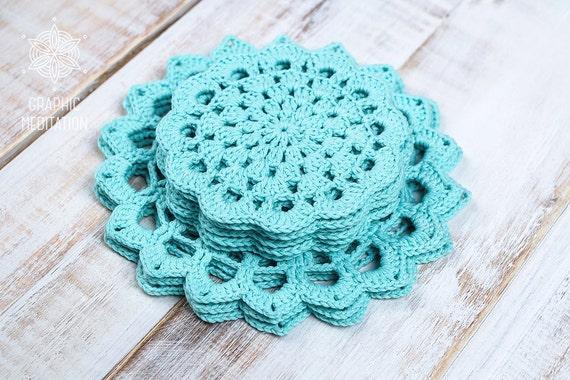 Crochet doily set 9 light cyan lace doilies 6 and - Set de table crochet ...