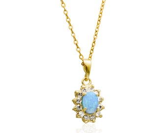Opal necklace | Gold Filled necklace Gift for Her, blue opal necklace, gemstone pendant