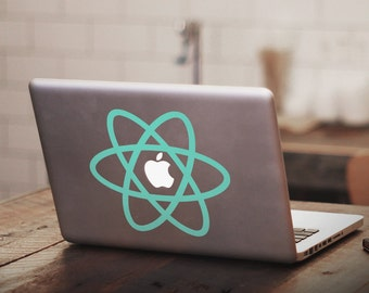 ATOM Symbol Macbook Decal, ATOM decal, ATOM sticker, Physics, ReactJS, Nuclear, Decal, Macbook, Nerd, ReactJS logo, Nerd Decal, Science