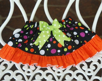 Halloween Ruffle Skirt! Polka dot ruffle skirt for Halloween/ Girls Halloween skirt/Orange, black, purple and green skirt/Halloween skirt