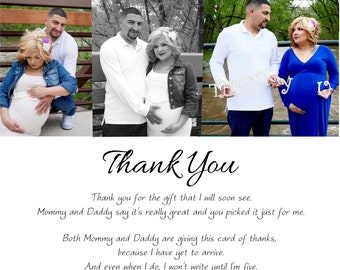 Personal Baby Shower Thank you card photo collage and words digital file - you print - more samples shown - thank you quote options or yours