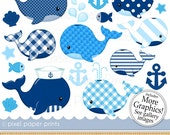 Nautical Whales clipart- Digital Clip Art - Personal and commercial use