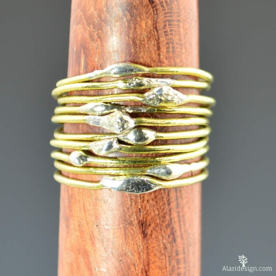unique brass stacking rings bimetal ring hippie ring