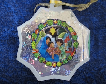 Vintage Christmas Ornament Is A Story Book-in the shape of a star, can be hung on your Christmas tree.7 sturdy pages each has a lovely scene
