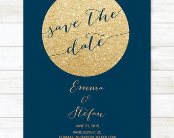 navy gold save the date invitation, gold glitter save the date invite, customizable save the date announcement