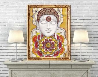 Buddha Poster, Zentangle Art Mandala drawing, Golden Buddha Mandala Painting, Zen Buddhist Wall Decor, Spiritual Ethnic Home Art Decor