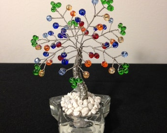 Crystal Tree Of Life Chakra Wire Bonsai Tree, Fung Shui Crystal Wire Tree Sculpture,Stone Wire Tree,Desk Decoration,Glass Beaded Tree