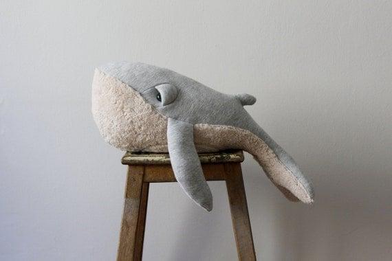 Small Whale Stuffed Animal <0> Plush Toy <0> Cotton Jersey & Cotton Faux Fur