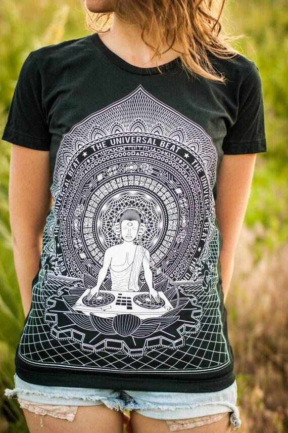 Buddha DJ T-Shirt—Organic USA Made, Buddha T-Shirt, Sacred Geometry T-Shirt, Visionary Art, Buddhist T-shirt, EDM, Psychedelic Buddha, Women