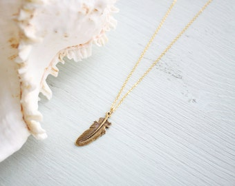 Gold Feather Necklace - Bohemian Feather Necklace - Boho Feather Necklace - Antique Gold Feather Pendant - Gold Feather Jewellery