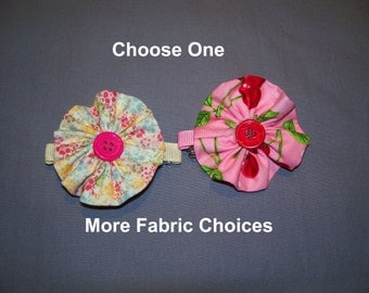 Fabric Flower Barrette, Choose 1 on a French Barrette or Alligator Clip