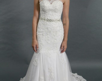 One shoulder White lace Mermaid wedding dress with crystal belt, crystal beaded bridal gown