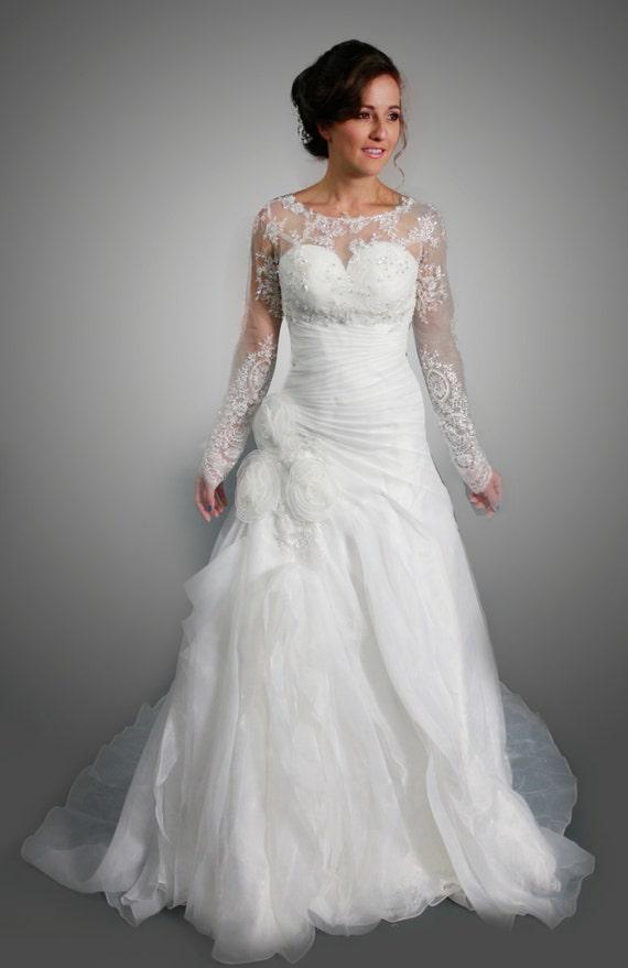mariage organza blanc sweetheart robe avec bolero dentelle amovible manches longues - Bolero Mariage Blanc