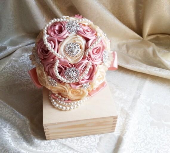 Satin Ribbon Flowers Wedding Bouquet Dusky Pink Ivory