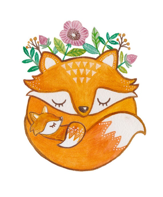 Mother and Baby Fox Print