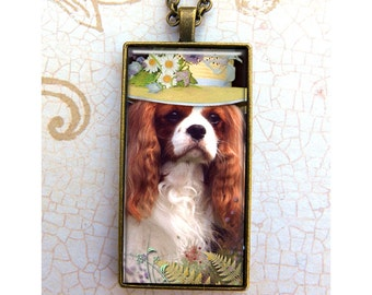 1x2 inch Dog Pendant , Dog With Hat, King Charles Spaniel, Necklace,Glass Pendant,Jewelry, Metal, Glass, Gift, Women, Fashion Accessory