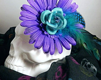 Large Purple Floral Fascinator with Teal Rose