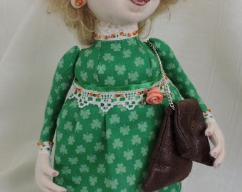 Cloth Art Doll, Irish Lady