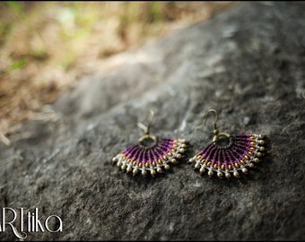 Earrings hoops purple beaded bronze. Hoop earrings. Boho. Gypsy.