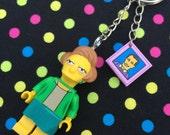 The Simpsons Edna Krabappel Minifigure Keyring /Keychain...Handmade using LEGO® parts