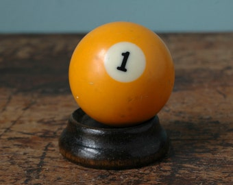 "Yellow 1 Billiard Pool Ball 2.25"" Number One Uno I Solid Solids White Paperweight Plastic Bakelite Display Mancave Game Room Old"