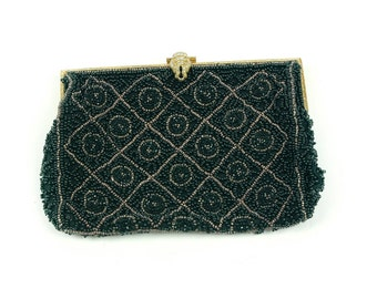 Vintage Women's French Wristlet Hand Pouch Purse Bead Beads Black Small With Hand Strap Elegant Dinner Wallet Made in France Zirconia