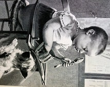 Baby in High Chair WON'T SHARE w Hungry Dog 1890 - SELFISHNESS Selfish Infant - Jean Geoffroy Professionally Matted Engraving Ready to Frame