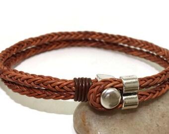 Men's leather bracelet multi strand bracelet men's bracelet square braided leather bracelet brown leather bracelet button clasp RLB4