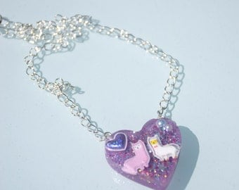 Alpaca Love Resin Necklace