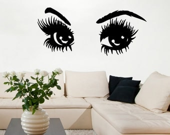 Lashes Wall Decal Etsy - Wall decals eyes