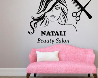 Custom Name Wall Decals Beauty Salon Logo Lettering Fashion - Custom vinyl wall decals logo