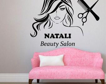 Custom Name Wall Decals Beauty Salon Logo Lettering Fashion - Custom vinyl wall decals logo