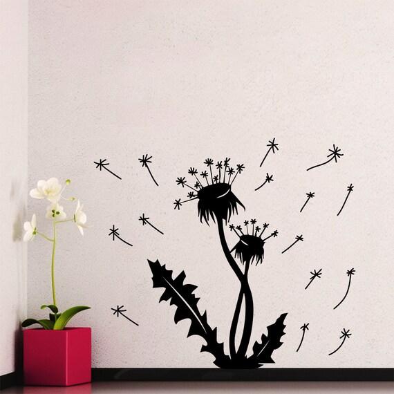 Dandelion wall decals flower blossom flowering art mural vinyl for Dandelion mural