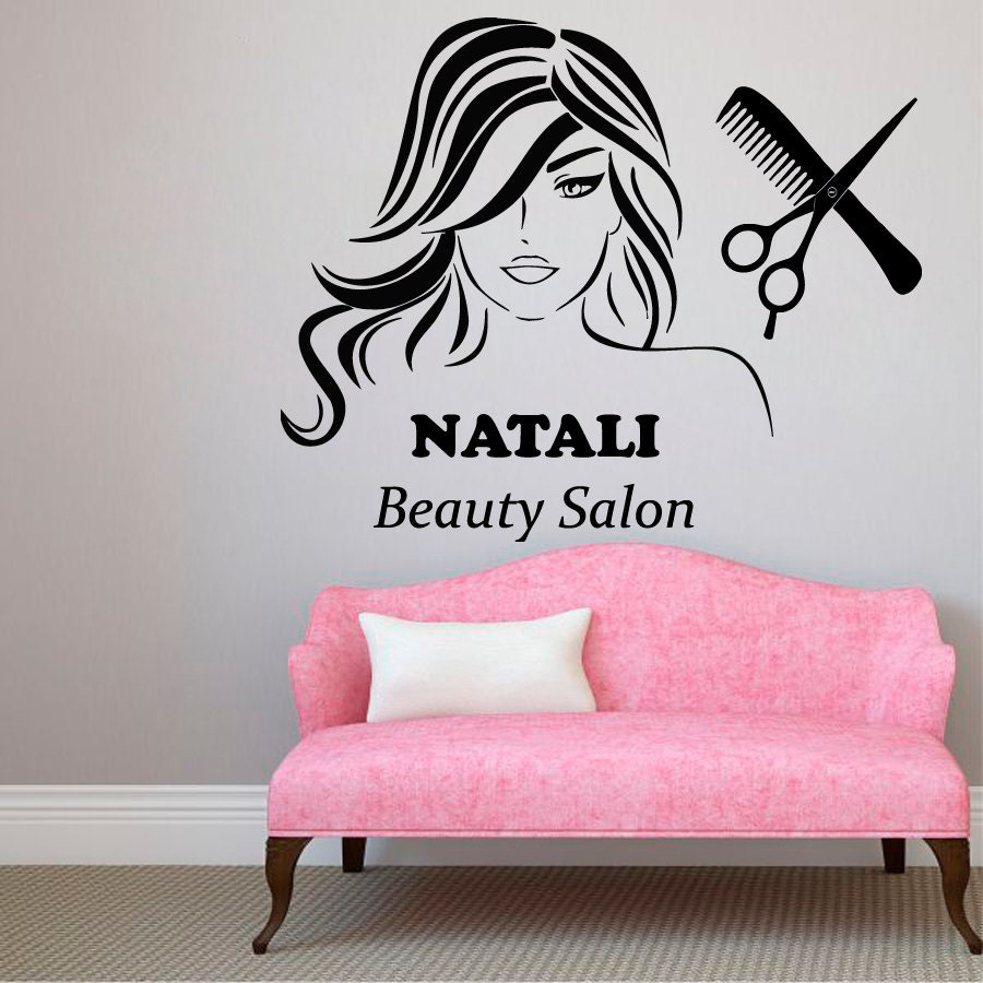 custom name wall decals beauty hair salon decor logo lettering. Black Bedroom Furniture Sets. Home Design Ideas