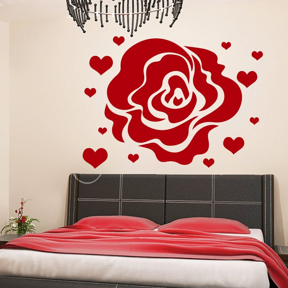 Rose and Hearts Wall Decal by WallDecalswithLove