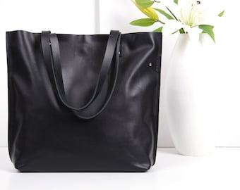 Black Leather Tote Bag - MID SISSI Medium Tote, Handmade Leather Tote