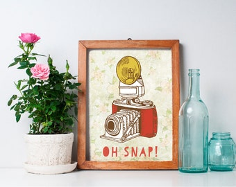 75% OFF SALE - Oh Snap Camera Print - 8x10 Vintage Camera, Photography Quote, Retro Camera, Printable Art, Retro Art, Wall Art