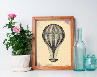 75% OFF SALE - Vintage Hot Air Balloon Decor 8x10 - Wall Art, Nursery Art, Home Decor, Nursery Decor, Printable, Digital Download