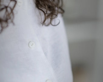 Simple Natural Linen Shirt. Washed linen top for woman. White flax blouse.