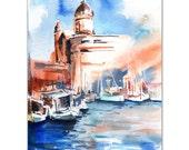 Marine Cityscape Watercolor Painting Art Print, Watercolour Art, Nautical Sea Modern Art