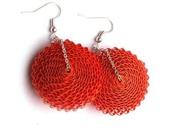 Boho Earrings, 1st Anniversary Gift for Her Paper Jewelry Orange Earrings Statement Earrings Bohemian Jewelry Paper Earrings Large Earrings