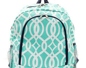 Vine Print Monogrammed School Backpack Mint Green and White with Navy Blue Trim